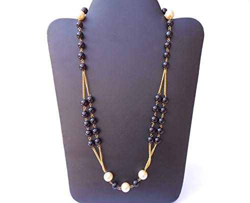 Ethnic Traditional Handmade Antique Golden Plated Pearl Metal Stone Necklace 2409/_10