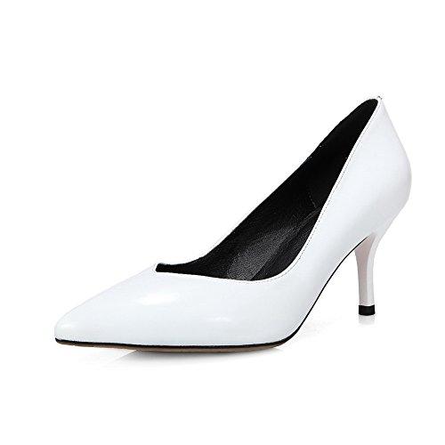AllhqFashion Mujer Material suave Puntera Cerrada Cuero de vaca Tacón medio Slip-on ZapatosdeTacón Blanco