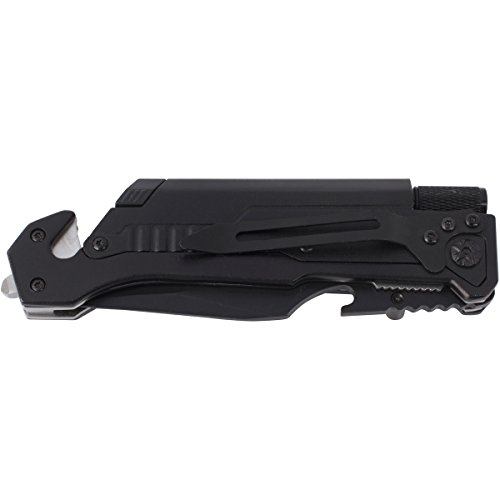 Chaos Ready 5 in 1 Survival Knife : Ultimate Multipurpose Survival Tool Featuring: Led Flashlight, Glass Breaker, Seatbelt Cutter, Fire Starter & Bottle Opener, All in a Folding Tactical Knife