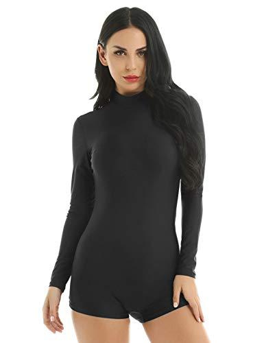 YiZYiF Womens Adult Lycra Spandex Mock Neck Gymnastics Dance Leotards Biketard Shorty Unitard Black Large