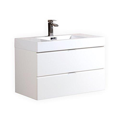 Bliss 40″ High Gloss White Wall Mount Modern Bathroom Vanity price