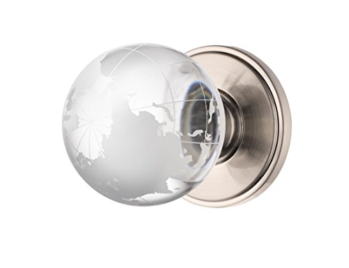 Decor Living, AMG and Enchante Accessories Modern Globe Crystal Door Knobs, Frosted Glass Design, Passage Function for Hall and Closet, Atlas Collection, DK02S SXO, Satin ()