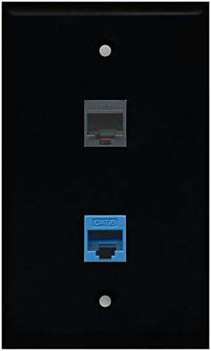 RiteAV Black 1 Port Phone Black 1 Port Cat6 Ethernet Blue Wall Plate