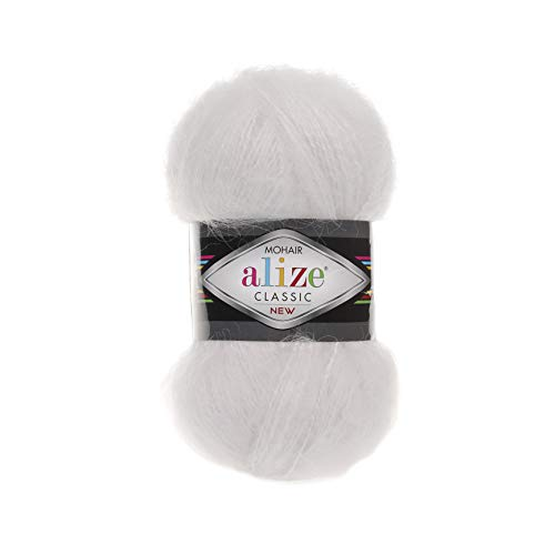 Wool Mohair Yarn Alize Mohair Classic New Thread Crochet Hand Knitting Turkish Yarn Art Lot of 4 skeins 400 gr 875 yds Color 55 White ()