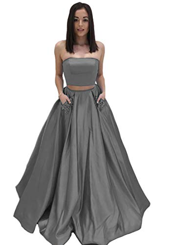 Lilyla Grey Two Piece Prom Dresses Long A-Line Beaded Satin Evenin Gown with Pockets US18W -