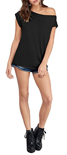 Women's Casual Off Shoulder Lose Sexy Short Sleeveless Blouse Tops T Shirt Black L