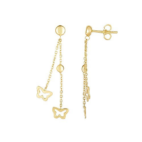 Finejewelers 14 Kt Yellow Gold 40x7mm Small Beadopen Butterfly Element On Double Graduated Strand Cable Cha Drop (Double Graduated Strand)