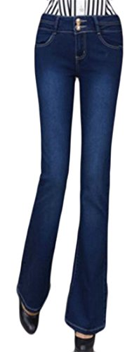 Fulok Womens Casual Faded High Waist Bell Flare Leg Boot Cut Pants Jeans Dark Blue Large