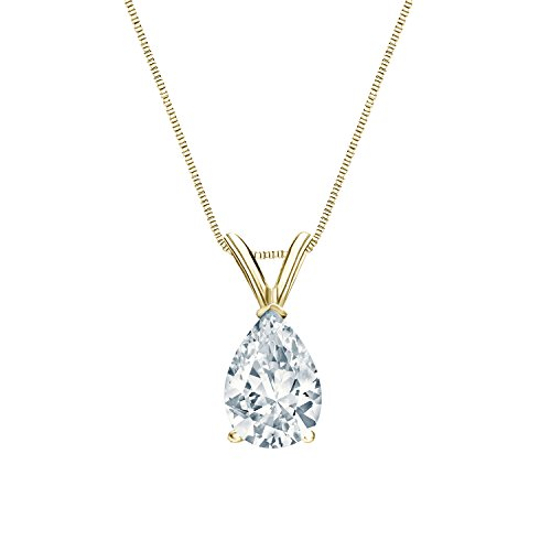 IGI Certified 14k Yellow Gold V-End Prong Pear-Cut Diamond Solitaire Pendant (1 cttw, H-I, I1-I2)