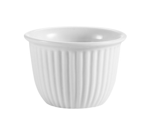 CAC China CST-8 Accessories 3-1/2-Inch 6-Ounce Super White Porcelain Round Fluted Custard Cup, Box of - 3.5 Inch White Porcelain