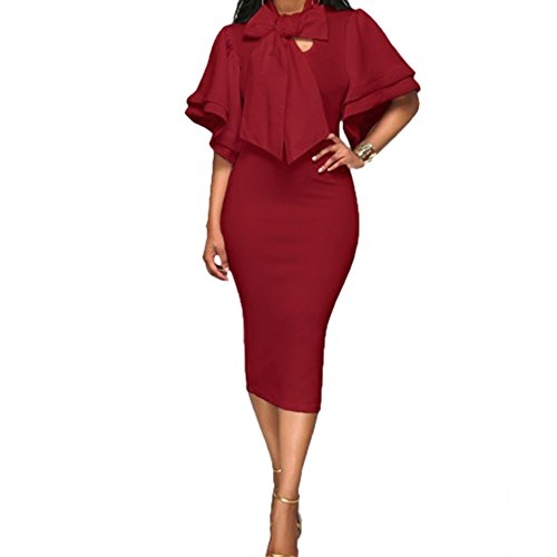 Sleeve Bowknot Women Dresses - 4