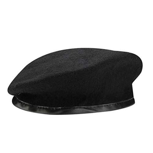 British Military Berets with Leather Sweatband, Adjustbale Army Black Wool Beret (One Size, Black) ()