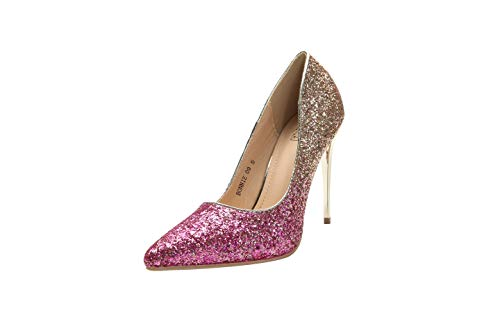 - Mila Lady (BONNIE09 Women Fashion Embellished Sparkles Contrast Color Pointed Toe Pumps High Heel Stilettos Sexy Slip On Dress Shoes, Fuchsia 8.5