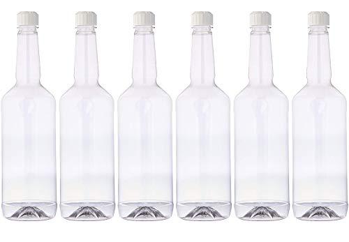 Concession Express Long Neck 32oz Plastic Quart Bottles with Flip-Top Caps (6 Bottles)