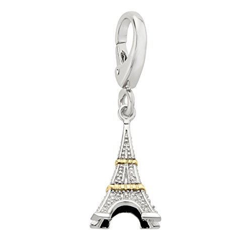 14k Eiffel Tower Charm - Eiffel Tower Charm with Diamonds in Sterling Silver & 14K Gold