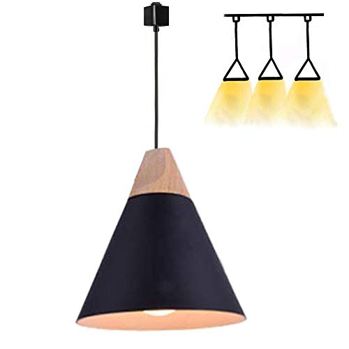 H-Style Track Mount Pendant Fixture Black Scandinavian Style Pendant Lights for Kitchen Hanging Lamp - Modern Wood and Aluminium Light