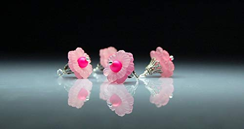 Huge Selection of Beading Accessories - Flower Beads - Charms - Bead Dangles - Pink Lucite Flowers - Set of Four ()