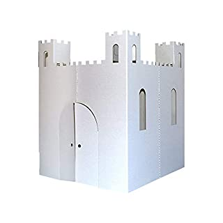 "Easy Playhouse Blank Castle - Kids Art & Craft for Indoor & Outdoor Fun, Color, Draw, Doodle on this Blank Canvas – Decorate & Personalize a Cardboard Fort, 32"" X 32"" X 43. 5"" - Made in USA, Age 2+"