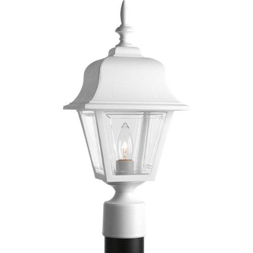 Progress Lighting P5456-30 Post Lantern with Clear, Beveled Acrylic Panels, White