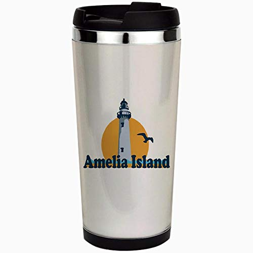 - Amelia Island - Lighthouse Design. - Stainless Steel Travel Mug, Insulated 15 oz. Coffee Tumbler.