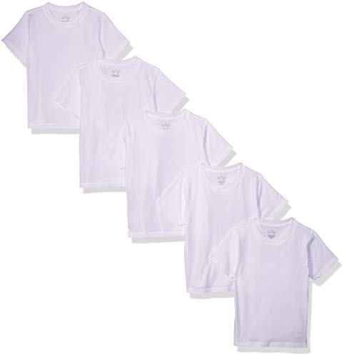 Moon and Back Toddler Set of 5 Organic Crew-Neck Short-Sleeve Tee Shirts, White Cloud, 5T
