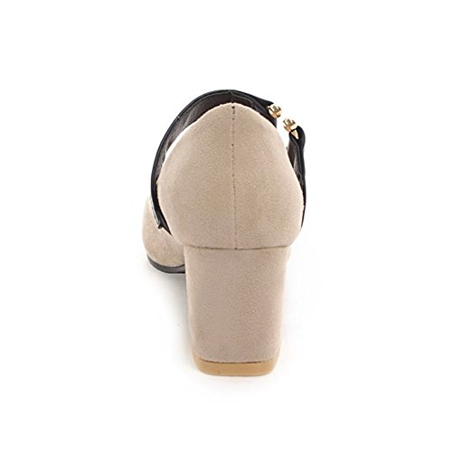 Coolcept Mujer Tacon Ancho Bombas Zapatos Beige