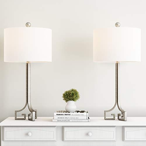 - Lavish Home Greek Key Table Lamps-Set of 2 Modern Lights with LED Bulbs Antique Silver with Ivory Shades for Bedroom, Living Room or Office