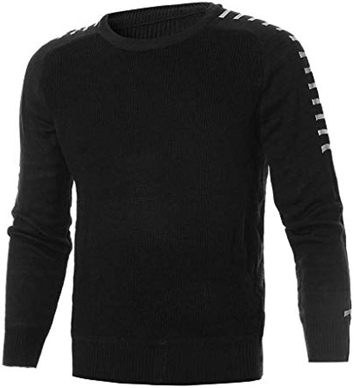 Męski sweter slim fit długi rękaw dzianina sweter bluza z długim rękawem T-shirt: Odzież
