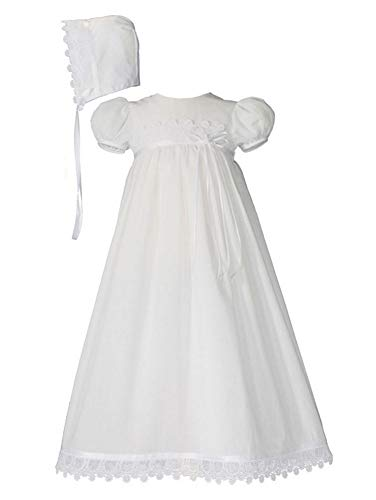 Little Things Mean A Lot 100% Cotton Handmade Girls Christening Special Occasion Dress with Italian Lace (Newborn (Birth-7 lbs))]()
