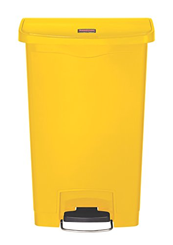 Rubbermaid Commercial Products Slim Jim Step-On Plastic Trash/Garbage Cans, 13 Gallon, Plastic Front Step Step-On, Yellow