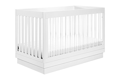 Babyletto Harlow Acrylic 3-in-1 Convertible Crib with Toddler Bed Conversion Kit, White with White Base and Acrylic Slats