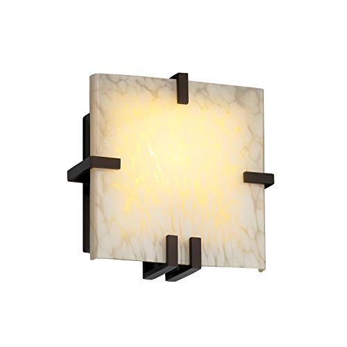 Justice Design Group Lighting FSN-5550-DROP-DBRZ-LED1-1000 Fusion-Clips Square Wall Sconce-Dark ()