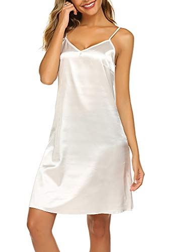Knee Length Chemise - Avidlove Women\'s Nightshirts Satin Chemises Slip Sleepwear,White (FBA),Large
