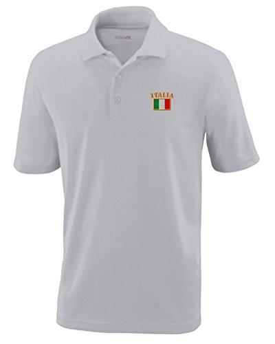 32a431eb4b885 Speedy Pros Italia Flag Embroidery Design Polyester Performance Polo Shirt  Platinum Medium