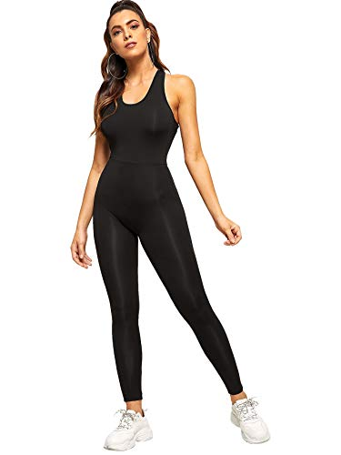 SweatyRocks Women's Spaghetti Strap Criss Cross Back Bodycon Tank Jumpsuits Rompers Playsuit Black #5 XL