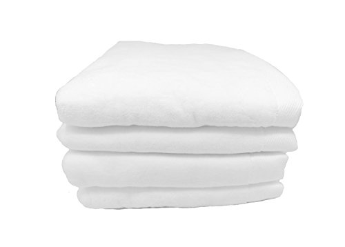 RobeSale Velour Terry Cotton Bath Towels, White, Set of 4