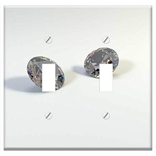 - Switch Plate Double Toggle - Diamond Faceted Diamond Gemstone Two Diamond Gems