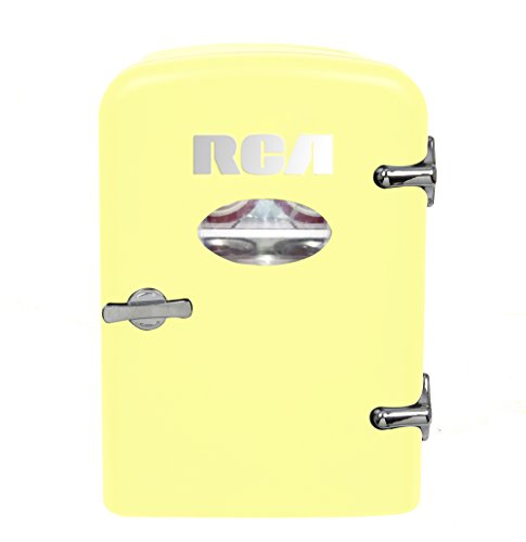 RCA Mini Compact Beverage Refrigerator, Yellow, Great for keeping office lunch and a couple drinks cool!
