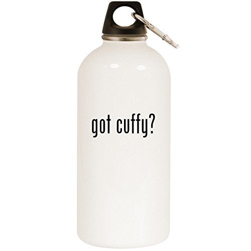 got cuffy? - White 20oz Stainless Steel Water Bottle with Carabiner
