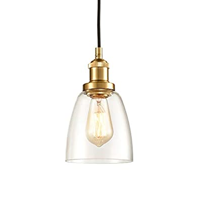 Buy Claxy Glass Pendant Lighting Antique Brass Mini Kitchen Island Haning Light Fixture Online In Indonesia B07tx92jvd