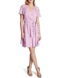 Women's Flutter Sleeve Tiered Surplus Wrap Dress
