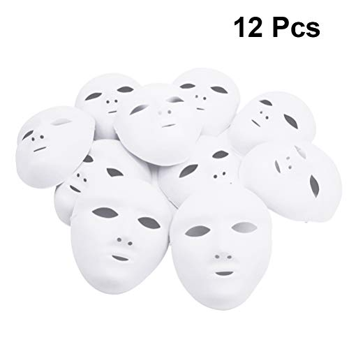 Amosfun Cosplay Female Full Face Halloween DIY Blank Painting Mask Halloween Masquerade Party Cosplay Mask Haloween Carnival Fancy Dress 12PCS White -