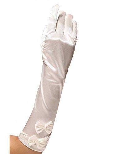 子犬ドライブクロスLOVART'S BEAUTY サテングローブ ロング リボン付 お花嫁 結婚式 ウェディング 手袋 38cm オフホワイト