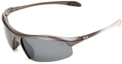 Under Armour Zone 8600010-4008 Polarized Rectangular Sunglasses, Shiny Metallic Grey Fade,60 - Glasses Grey Fade