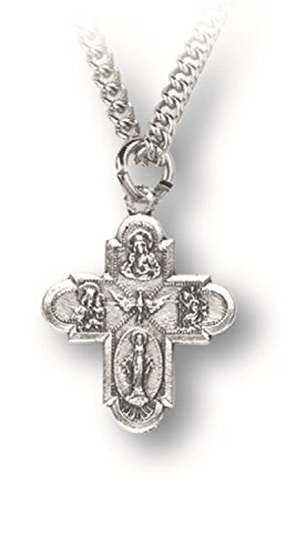 Inspire Nation Four Way Cross Pendant Medal Pewter on 24 inch Stainless Steel Chain