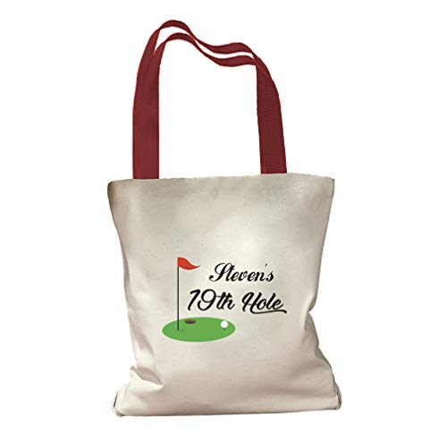 Personalized Custom Text Golf 19th Hole Sports Cotton Canvas Colored Handles Tote Bag - Red