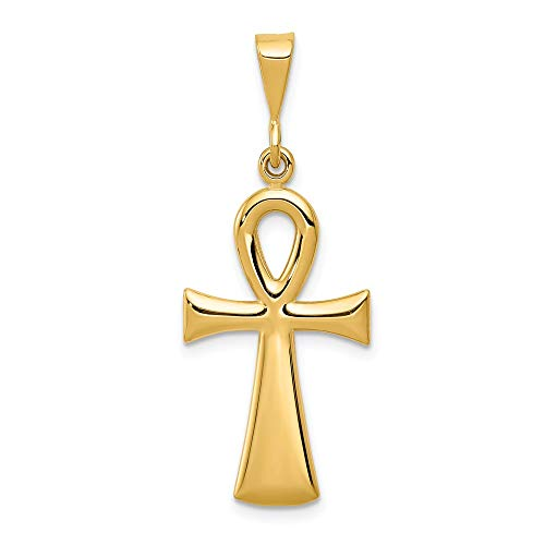 (14k Yellow Gold Egyptian Ankh Cross Religious Pendant Charm Necklace Fine Jewelry Gifts For Women For Her)