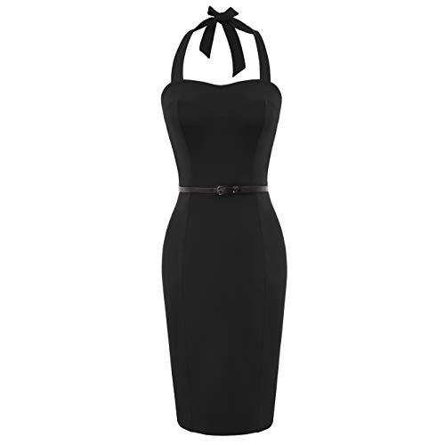1950's Dresses for Women Homecoming 50s Retro Vintage Pencil Dress Halter Neck Black Size S