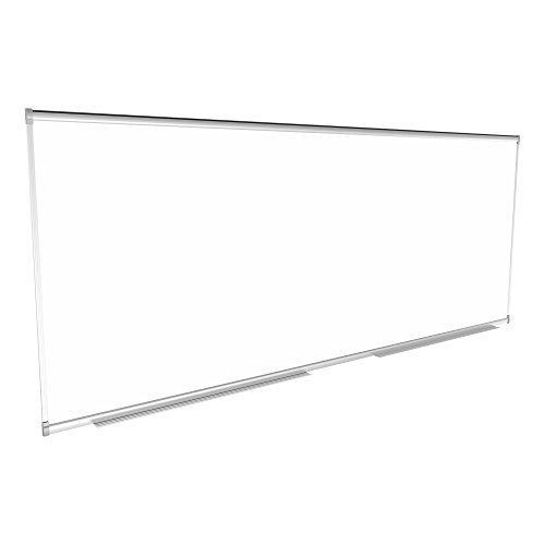 Learniture Porcelain Steel Magnetic Dry Erase Board/Whiteboard w/Aluminum Frame & Map Rail (10' W x4' L)