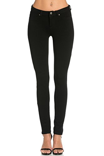 Poplooks Women's Casual Mid Rise Stretch Skinny Knit Jegging Pants Black Large